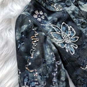 Chico's Jackets & Coats - •CHICOS• size 0 blue floral embroydered jacket